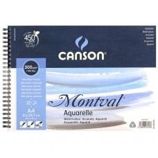 Альбом для акварели 13,5*21 300г 12л на спирали Montval Canson