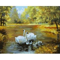 312-CG Живопись  на холсте 40*50 Лебеди в пруду