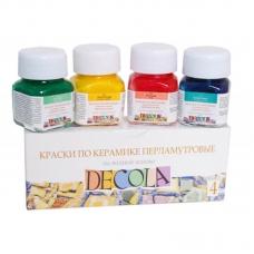 Краски по керамике 4цв 10мл перламутр Decola